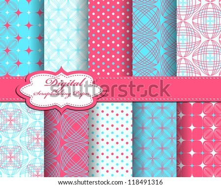 set of abstract flower vector paper for scrapbook