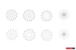 Set of Abstract Flowers and Sunburst. Spiral Wavy Curvy Circular Lines Halftone Dot Patterns. Vintage Artistic Twisted Rays of Sun. Flat Vector Design Elements.