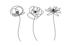 Set of abstract flowers in continuous line art drawing style. Doodle flowers. Minimalist black linear design isolated on white background. Vector illustration
