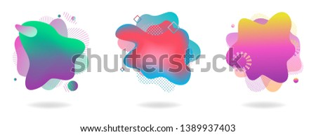 Set of abstract flowing liquid elements, colorful forms, dynamic geometric shapes, gradient waves, vector illustration
