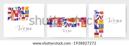 Set of abstract geometric posters for Wine Tasting event. Seamless  backgrounds for brochures, poster design. Vector illustration Photo stock ©