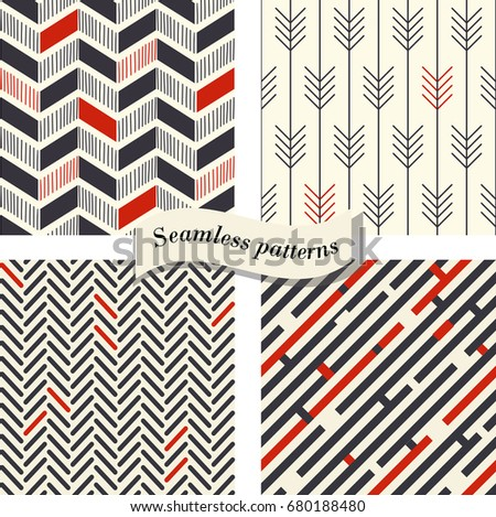 Set of Abstract geometric seamless pattern in retro colors. Endless pattern can be used for ceramic tile, wallpaper, linoleum, textile, web page background. Vector