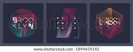Set of abstract geometric t-shirt vector designs, graphic prints. Brooklyn, Paris, London.