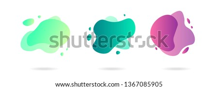 Set of abstract gradient modern graphic elements. Banners with flowing liquid shapes. Logo, flyer, presentation, invitation, card template. Vector illustration. #1367085905