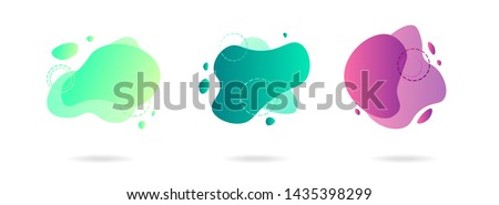 Set of abstract gradient modern graphic elements. Banners with flowing liquid shapes. Logo, flyer, presentation, invitation, card template. Vector illustration. #1435398299