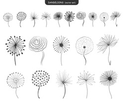 Set of abstract graphic doodle dandelions. Design element for fabric, wrapping paper, congratulation cards, print, banners. Hand drawn fluffy dandelion. Black and White vector illustration. EPS 10.
