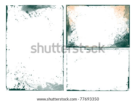 set of abstract grunge border design element - vector