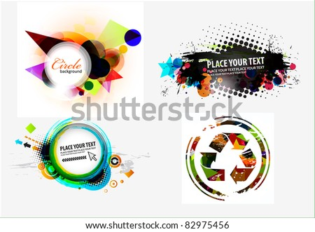 Set of abstract grunge stylish banners design.