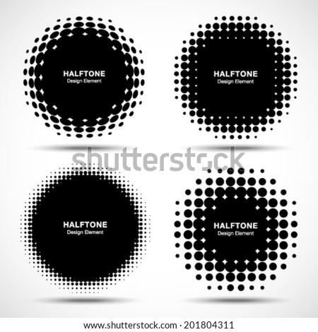 Set of Abstract Halftone Design Elements, vector illustration, logo