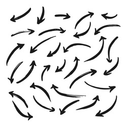 Set of abstract hand drawn arrows different direction and points. Isolated collection on a white background. Bold paint object for use in your design. Vector doodle black arrows icons. Brush stroke.