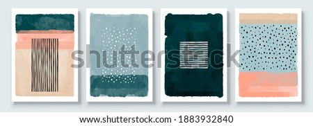 Set of Abstract Hand Painted Illustrations for Postcard, Social Media Banner, Brochure Cover Design or Wall Decoration Background. Modern Abstract Painting Artwork. Vector Pattern Stockfoto ©