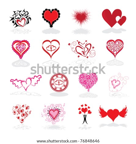 set of 16 abstract hearts, symbol of love