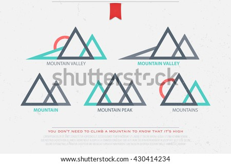 set of abstract high mountains