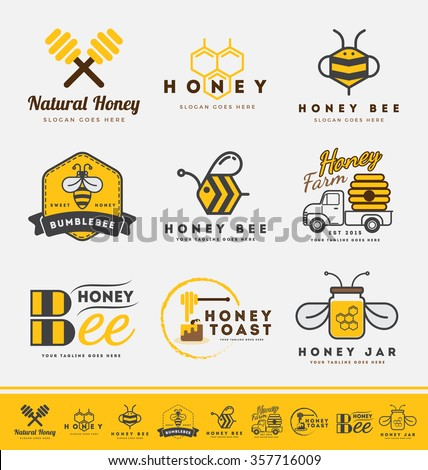 Set of abstract honey bee logo and labels for honey products. Vector illustration
