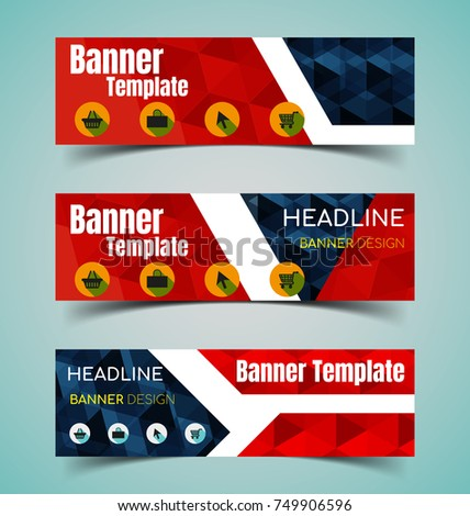 Set of abstract  horizontal banners with geometric shape.