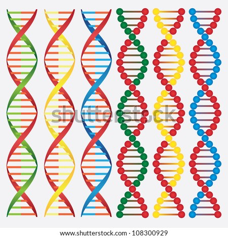 Set of abstract images of DNA molecules on the white background.