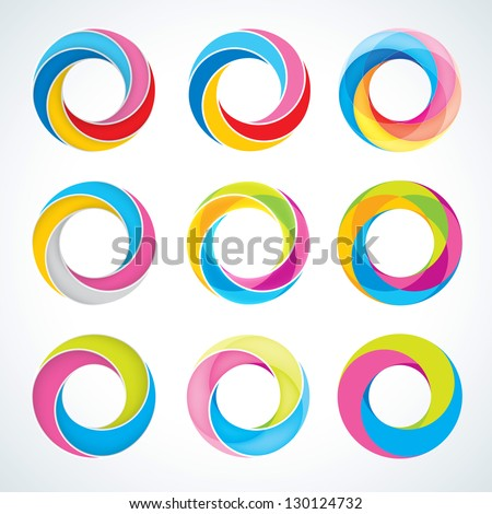 Set of abstract Infinite loop logo template. Corporate icons