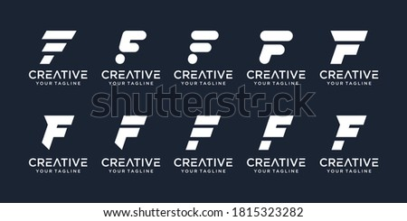 Set of abstract initial letter F with line art style logo template. icons for business of fashion, sport, automotive, simple. Foto stock ©