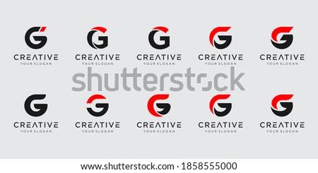 Set of abstract initial letter G logo template. icons for business of fashion, sport, automotive, Stok fotoğraf ©