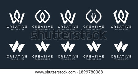 Set of abstract initial letter W logo template. icons for business of luxury, elegant, nature, simple. Zdjęcia stock ©