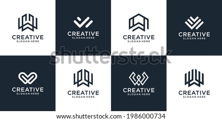 Set of abstract initial letters w monogram logo template, icon for business Zdjęcia stock ©