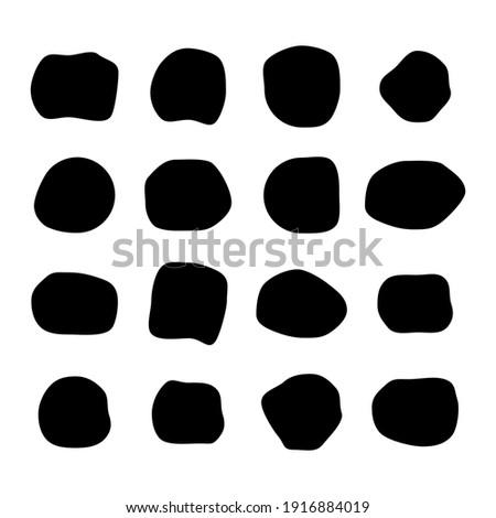 Set of abstract ink blotch, round liquid blot inkblot shape. Freskle pebble. Deform random smooth vector illustration .
