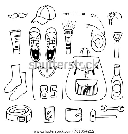 Set of abstract isolated design elements,casual sportiv outfit for man,student,boy. Clothes,bag,cellphone,shoes, t shirt,beer,wallet,key.Hand drawn vector black and white illustrations.Cartoon, doodle