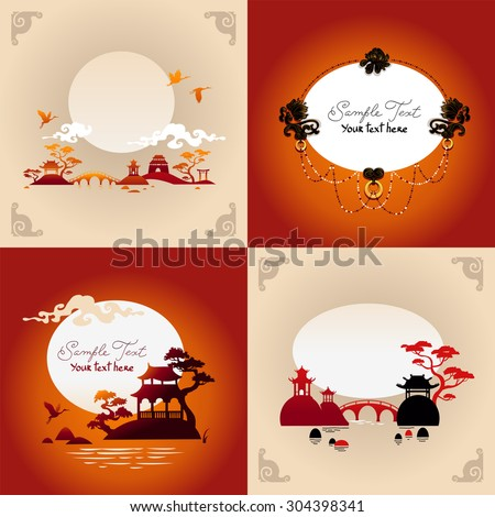 set of abstract japanese