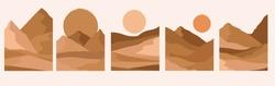 Set of abstract landscape. Desert wild nature landscapes silhouette template. Editable vector illustration.