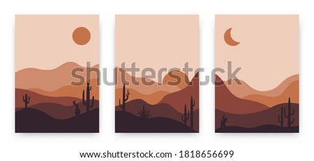Set of abstract landscape posters. Modern background flat design, contemporary boho sun moon mountains and cactus minimalist wall decor. Vector art print