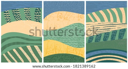 Set of abstract landscape vector background illustration. Countryside with colorful texture. Bundle of decorative eco cards. Nature, ecology, organic, environment banners, postcard, poster design Foto stock ©