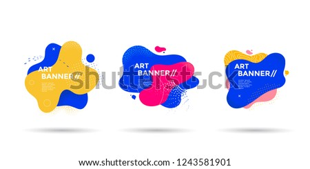 Set of abstract liquid shape. Fluid banner design with dots, lines and texturing graphics. Isolated dynamical art form. stock photo