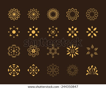 set of 20 abstract lotus vector
