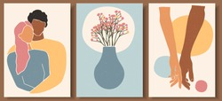 Set of abstract man and female shapes. Abstract couple portraits in pastel colors. Collection of contemporary art posters. Man holding woman's hand with love. Flowers and pot  abstract composition.