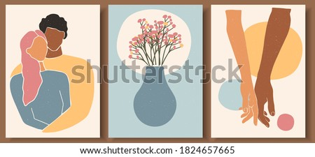 Set of abstract man and female shapes. Abstract couple portraits in pastel colors. Collection of contemporary art posters. Man holding woman's hand with love. Flowers and pot  abstract composition. Foto stock ©