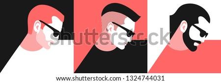 set of abstract man portraits
