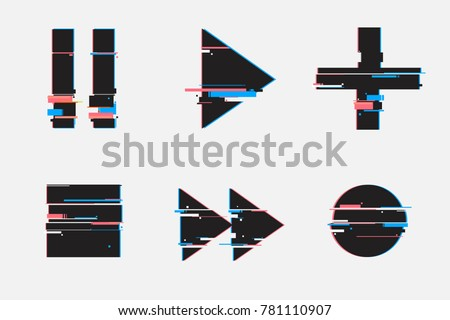 Set of abstract minimal template design for branding, advertising in geometric glitch style.Play, pause, record, play buttons. Modern background cover posters, banners, flyers, placards.