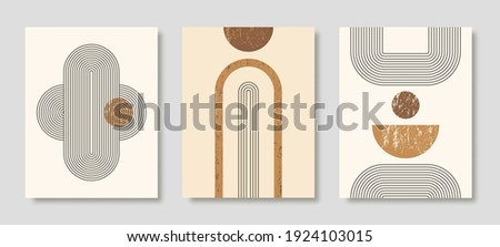 Set of Abstract Modern Art Backgrounds with simple geometric shapes of lines and circles. Boho Vector Illustration in minimal style and neutral colors for poster, T-shirt print, cover, banner