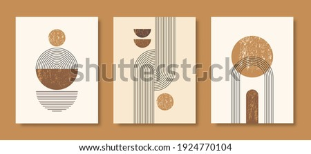 Set of Abstract Modern Art Backgrounds with simple geometric shapes of lines and circles. Boho Vector Illustration in minimal style and pastel colors for poster, T-shirt print, cover, banner