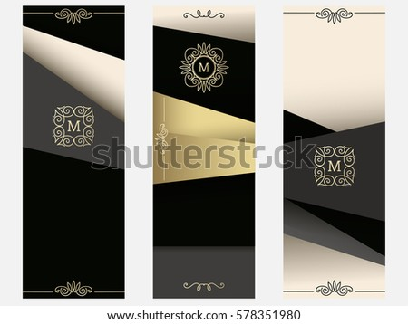 Set of Abstract modern banner, cards. Golden/Black/Beige/Grey design