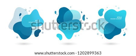 Set of abstract modern graphic elements. Dynamical blue forms and line. Gradient abstract banners with flowing liquid shapes. Template for the design of a logo, flyer or presentation. Vector. Stock photo ©