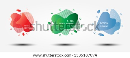 Set of abstract modern graphic elements. Dynamical colored forms and line.  #1335187094