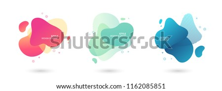 Set of abstract modern graphic elements. Dynamical colored  forms and line. Gradient abstract banners with flowing liquid shapes. Template for the design of a logo, flyer or presentation. Vector. - Shutterstock ID 1162085851
