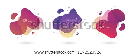 Set of abstract modern graphic elements. Dynamical colored  forms and line. Gradient abstract banners with flowing liquid shapes. Template for the design of a logo, flyer or presentation. Vector. - Shutterstock ID 1192520926