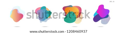 Set of abstract modern graphic elements. Dynamical colored forms and line. Gradient abstract banners with flowing liquid shapes. Template for the design of a logo, flyer or presentation. Vector. #1208460937