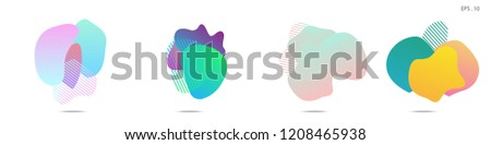 Set of abstract modern graphic elements. Dynamical colored forms and line. Gradient abstract banners with flowing liquid shapes. Template for the design of a logo, flyer or presentation. Vector. #1208465938