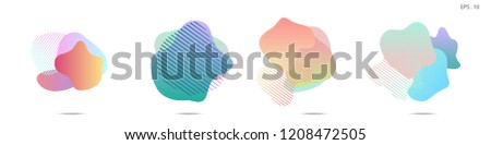 Set of abstract modern graphic elements. Dynamical colored forms and line. Gradient abstract banners with flowing liquid shapes. Template for the design of a logo, flyer or presentation. Vector. #1208472505