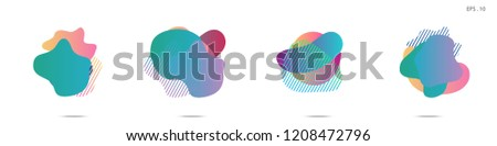 Set of abstract modern graphic elements. Dynamical colored forms and line. Gradient abstract banners with flowing liquid shapes. Template for the design of a logo, flyer or presentation. Vector. #1208472796