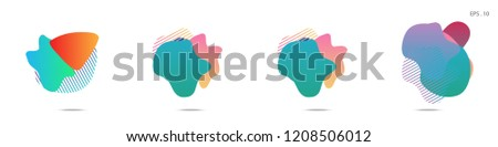 Set of abstract modern graphic elements. Dynamical colored forms and line. Gradient abstract banners with flowing liquid shapes. Template for the design of a logo, flyer or presentation. Vector. - Shutterstock ID 1208506012