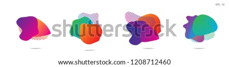 Set of abstract modern graphic elements. Dynamical colored forms and line. Gradient abstract banners with flowing liquid shapes. Template for the design of a logo,flyer or presentation. Vector. #1208712460